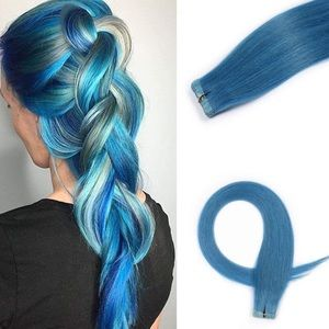 Accessories - NEW human hair tape-in extensions Aqua Sky Blue